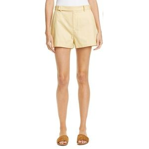 Equipment Jeannine Cotton Shorts in Pale Yellow.